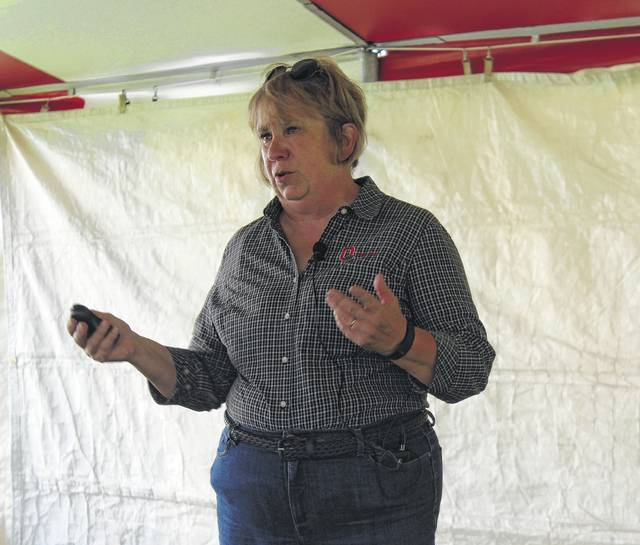 Photo of Suzanne Mills-Wasniak teaching under a tent